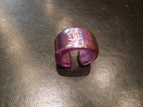 Chanel ring purple iridescent polyester resin