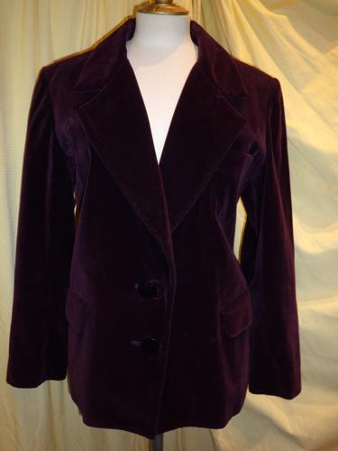 VESTE YVES SAINT LAURENT VELOURS PRUNE T.42