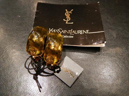 Boucles d'oreilles Yves Saint Laurent vertes