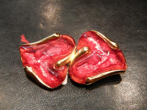 Yves Saint Laurent brooch 2 red hearts