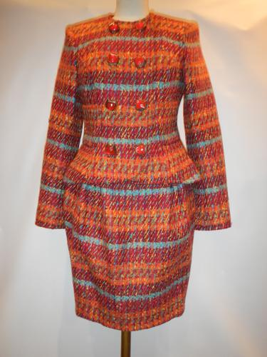 Lacroix multicolored tweed orange suit T.36