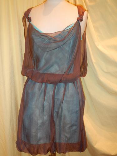 Robe Loulou de La Falaise turquoise-marron T.36