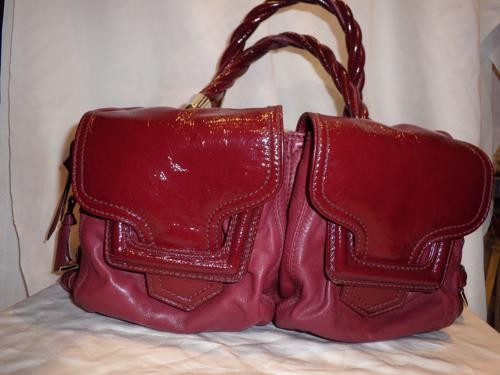 Sergio Rossi bag and varnishes burgundy leather,
