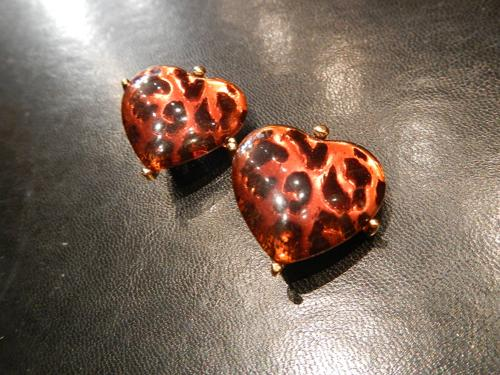 Earrings YSL leopard print.