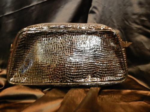 Armani bag black crocodile print patent leather