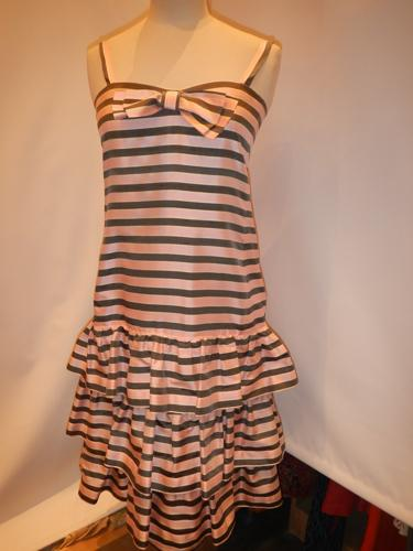 Guy Laroche Vintage dress silk white / pink / gray T.36.